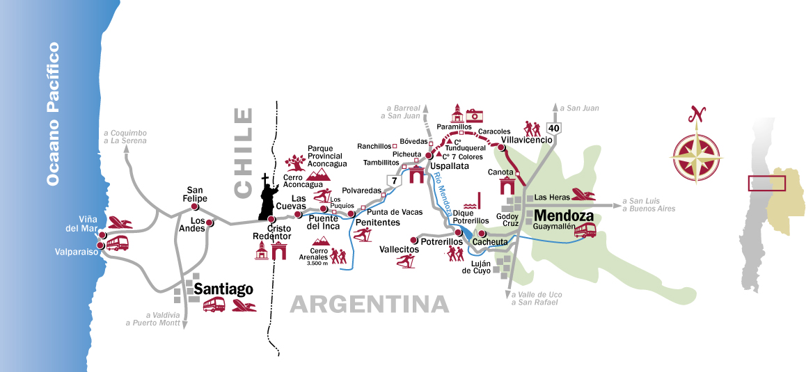 Cruce de los Andes- Mapa Excursion
